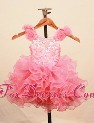 Sweet Ruffles Baby Pink Little Girl Pageant Dress Ruffles Floral Straps
