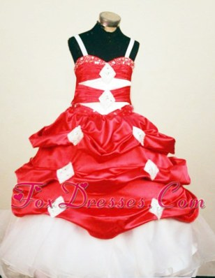 Red and White Hand Made Flowers Beading Little Girl Dress