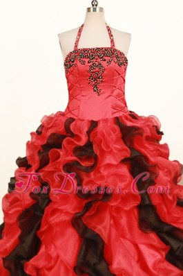Halter Red and Black Embroidery Ball Gown Little Girl Pageant Dress
