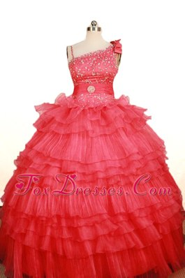 Custom Made Coral Red Layer Beading Floral Pageant Dress