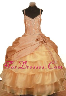 Yellow Hand Made Flowers Beading and Pick-ups Girl Dresses