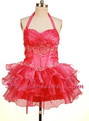 Perfect Halter Ruched Bodice Beading Ruffles Short Girl Dress