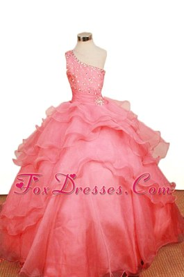 One Shoulder Layer Beading Tulle Watermelon Little Girl Dress 2013