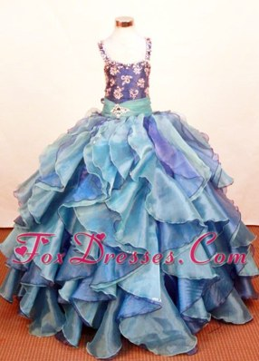 Ruffled Layeres Little Girl Pageant Dresses Square Ball Gown