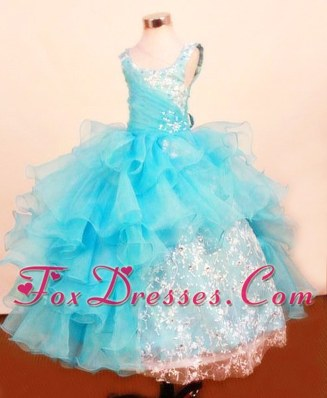 Blue Ruffled Layers Beading Pretty Girl Partyt Dresses with Lace
