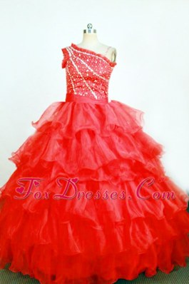 Ball Gown One Shoulder Red Little Girl Pageant Dresses Ruffles