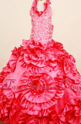 Red Little Girl Pageant Dresses Ball Gown with Rolling Flower
