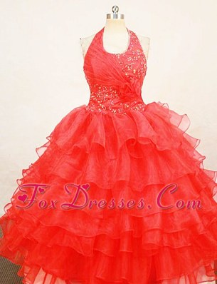 Beading Red Halter Organza Little Girl Pageant Dresses With Ruffles