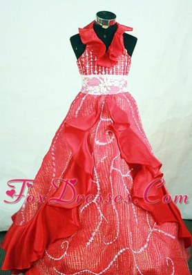 Beading Halter Top Red Organza Beading Little Girl Pageant Dresses