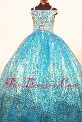 Paillette Over Skirt Ball Gown Straps Blue Little Girl Pageant Dresses