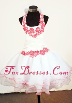 2013 Halter Mini-length White Little Girl Dresses Appliques