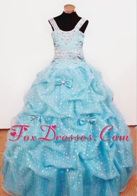 Bowknot Ball Gown Straps Beading Little Girl Pageant Dresses