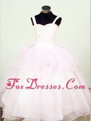 Hand Made Flowers Ball Gown Straps Beading Little Girl Pageant Dresses