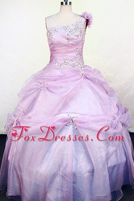 Hand Made Flowers One Shoulder Appliques Little Girl Pageant Dresses