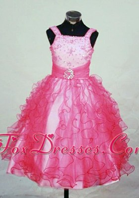 Ruffles Straps Red Organza Beading Little Girl Pageant Dresses