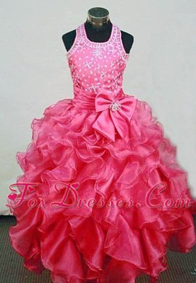 A-Line Halter Red Organza Little Girl Pageant Dresses Beading