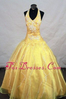 Halter Top Appliques Little Girl Pageant Dresses With Organza