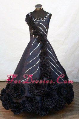 Hand Made Flowers Scoop Black Beading Little Girl Pageant Dresses