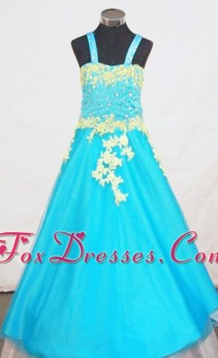 A-Line Strap Little Girl Pageant Dresses Appliques