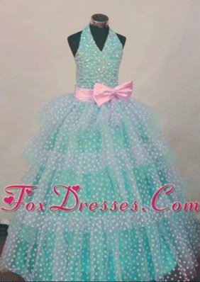 Beading Turquoise Ball Gown Halter Top Little Girl Pageant Dresses