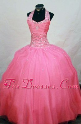Cute Halter Top Ball Gown Watermelon Beading Little Girl Pageant Dresses