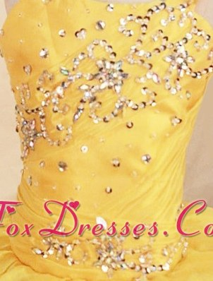 Beautiful Yellow Beading One Shoulder Little Girl Pageant Dresses