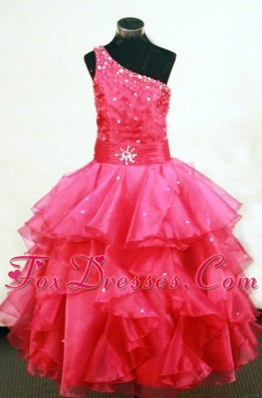 Beautiful Beading One Shoulder Pretty Girls Party Dresses In Coral Red
