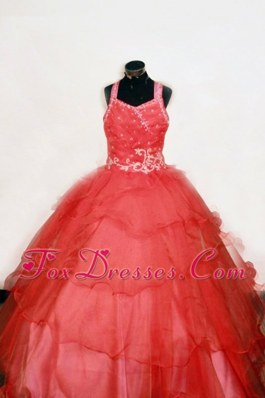 2013 Straps Red Appliques Little Girl Pageant Dresses