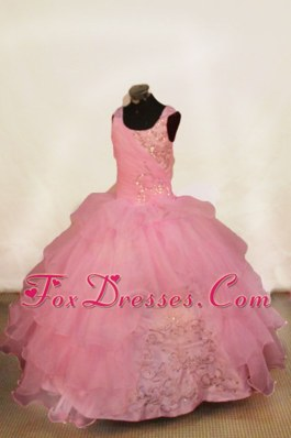 Beading Off The Shoulder Light Pink Beading Flower Girl Dress