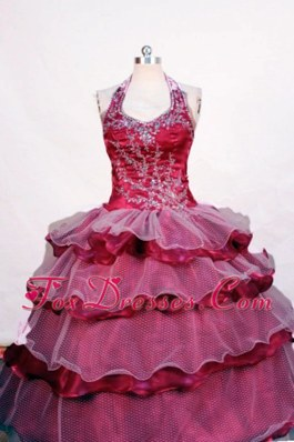 Fashionable Halter Beading Fuchsia Ball Gown Little Girl Pageant Dresses
