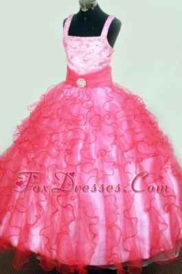 Beautiful Ruffles and Beading Square Pink Little Girl Pageant Dresses