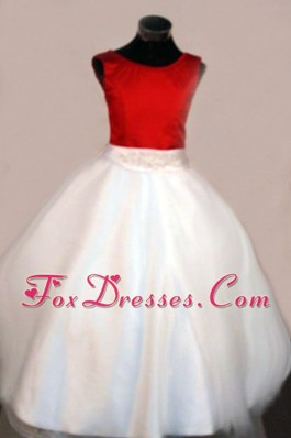 Discount Beading Scoop A-line White Flower Girl Dress