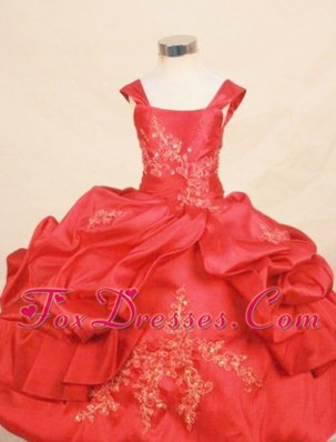 Cute Long Appliques Square Red Little Girl Pageant Dresses