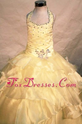 Popular Halter Yellow Little Girl Pageant Dresses With Beading