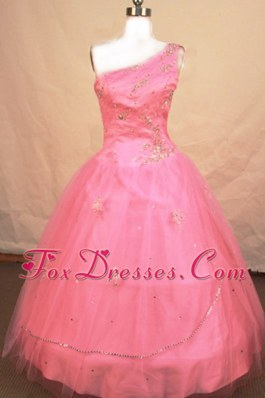 Pretty Beading One Shoulder Pink Little Girl Pageant Dresses