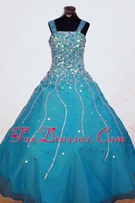 Beautiful Beading Teal Little Girl Pageant Dresses With Straps