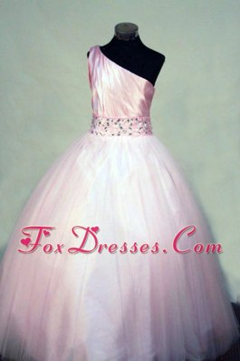 Ball gown Beading One Shoulder Pink 2013 Flower Girl Dress