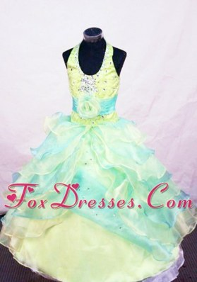 Beautiful Multi-colored Beading Halter Little Girl Pageant Dresses