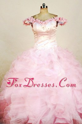 Sweet Beading Off the shoulder Pink Beading Little Girl Pageant Dresses