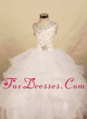 2013 White One Shoulder Beading Little Girl Pageant Dresses