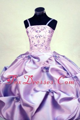 Straps Beading Ball gown Lilac Little Girl Pageant Dresses