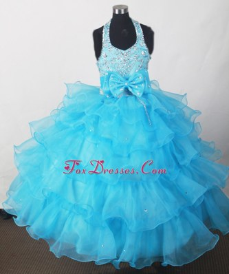 2013 Perfect Aqua Blue Bowknot Beading Ruffles Tulle Flower Girl Dress