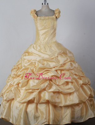 Floral Shoulders Light Yellow Glitz Pageant Dress Bubbled