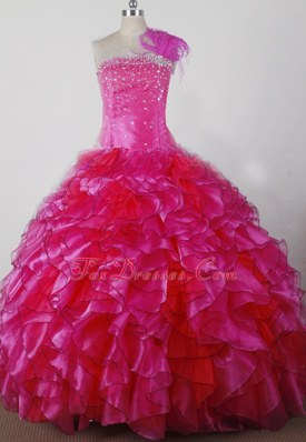 Exquisite Hot Pink Feather and Ruffles Toddler Pageant Dress