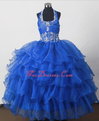Perfect Royal Blue Halter Top Little Girl Pagant Dress Ruffled