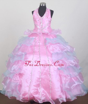 Pretty Pink Layered Little Girl Pageant Dress Halter Top