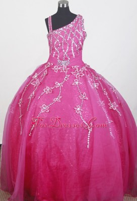 Brand New Asymmetrical Shoulder Beaded Girls Birthday Dress