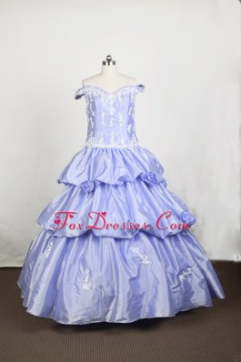 Off Shoulder Ruffled First Communion Dresses With Appliques