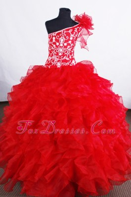Luxurious Red One Shoulder Ruffled Flower Girl Pageant Dress