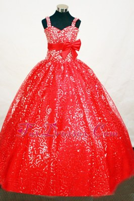 Shimmering Sequins Straps Red Little Girl Dresses With Bowknot